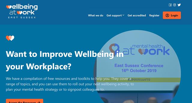 Screenshot of the Wellbeing at Work website homepage