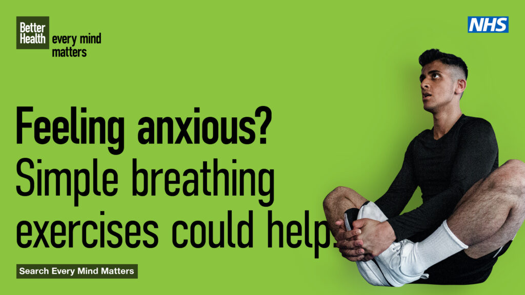 Man doing breathing exercises to help with anxiety. Every Mind Matters advert